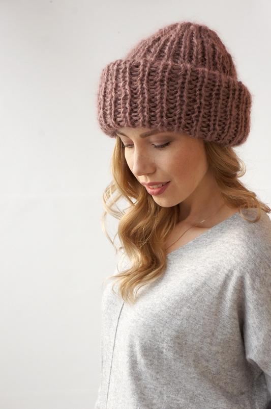 шапка зимняя из шелкамохера C двойным подворотом Snitkostudiocom